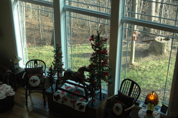 Gander Run Ridge at Christmas, Lodge Style Home Decorated for Christmas, Windows overlooking stream  , Holidays Design