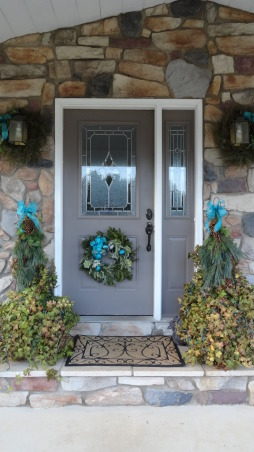 I'm dreaming of a {turquoise} Christmas!!, Red and green will not be seen this holiday season around my home!!!! Turquoise is in its full glory and splendor, such a festive shade of blue!! , Front door flanked with two pots of ivy!! A few bows of turquoise and a fresh evergreen wreath welcomes all of our holiday guests!!, Holidays Design