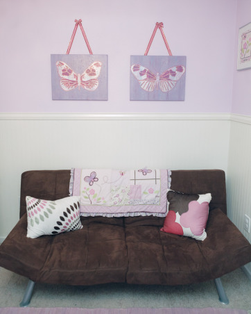 Maia's Room, My 2nd daughter's room on a budget...glider and changing table were transferred from her big sister's room, lots of stuff from Wal-Mart and Target. :-), Nurseries Design