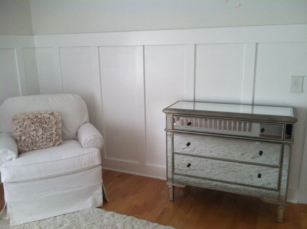 All White Nursery, I went with an all white theme for our daughters first room.  We are expecting a baby girl Feb 2013! It is so calm and relaxing.  I love just spending time there already., Mirrored changing table., Nurseries Design
