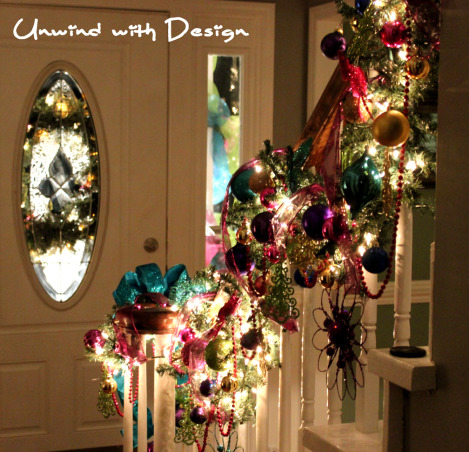 Unwind w/Design - Christmas Open House 2012 - Part 3, Unwind with Design's Open House 2012 - Part 3 unwindwithdesign.blogspot.com, Christmas staircase using non traditional colors, hot pink, lime, aqua, purple and gold.  This is before adding live greenery.   unwindwithdesign.blogspot.com  , Holidays Design