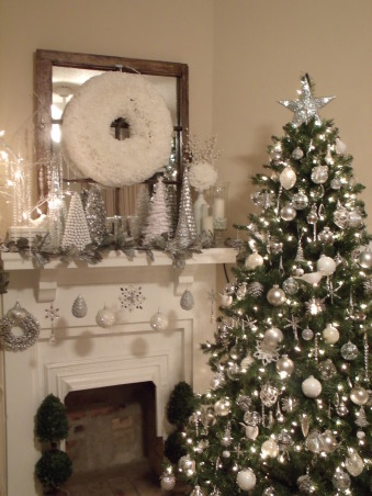 Christmas Decor 2012, Love decorating with silver and white..., Holidays Design