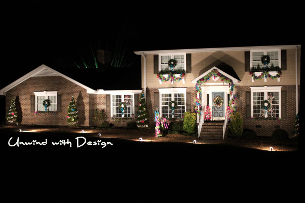 Unwind w/Design - Christmas Open House 2012 - Part 3, Unwind with Design's Open House 2012 - Part 3 unwindwithdesign.blogspot.com, Exterior photo of our home using deco mesh ribbon and no traditional colors.  See the entire Open House at:  unwindwithdesign.blogspot.com  , Holidays Design