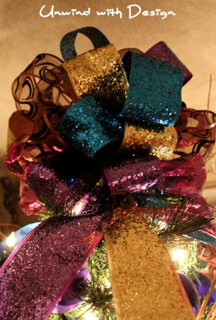 Unwind w/Design - Christmas Open House 2012 - Part 3, Unwind with Design's Open House 2012 - Part 3 unwindwithdesign.blogspot.com, Jewel tone bow made for the jewel tone tree.  See Unwind with Design's Christmas Open House part 1 and part 2.  Or you can visit unwindwithdesign.blogspot.com to see the entire Open House.  , Holidays Design