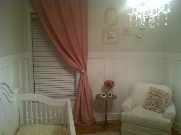 All White Nursery, I went with an all white theme for our daughters first room.  We are expecting a baby girl Feb 2013! It is so calm and relaxing.  I love just spending time there already., Pink Silk drapery,, Nurseries Design