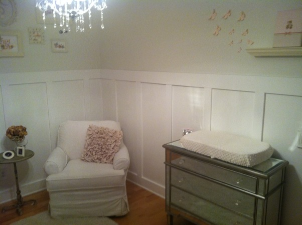 All White Nursery, I went with an all white theme for our daughters first room.  We are expecting a baby girl Feb 2013! It is so calm and relaxing.  I love just spending time there already., Glider that has a custom slip cover over it., Nurseries Design