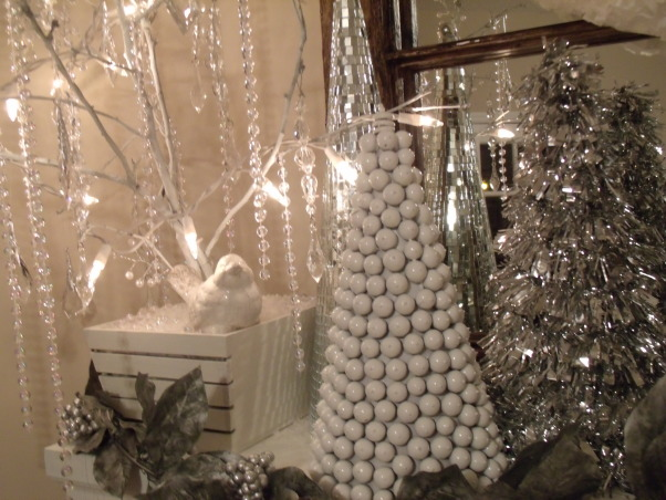Christmas Decor 2012, Love decorating with silver and white..., White tree made from acorns, Holidays Design