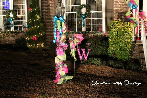 "Unwind w/Design - Christmas Open House 2012 - Part 3, Unwind with Design's Open House 2012 - Part 3 unwindwithdesign.blogspot.com, Using a ""Hobby Lobby"" letter wrapped in ribbon and hung on my garden flag.  Christmas 2012 unwindwithdesign.blogspot.com  , Holidays Design"