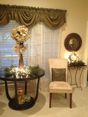 In My Zone Simple Elegance, Adding lights with cream, gold, and green accents this living and dinning areas were transform for the holidays., Every corner of a living room should draw the eye. , Holidays Design