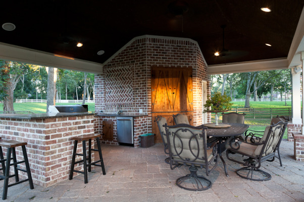 Southern Charm Outdoor Living, our outdoor extension of the house - we do a lot of grilling, swimming, and enjoying life here with family and friends, beadboard ceiling, Pools Design