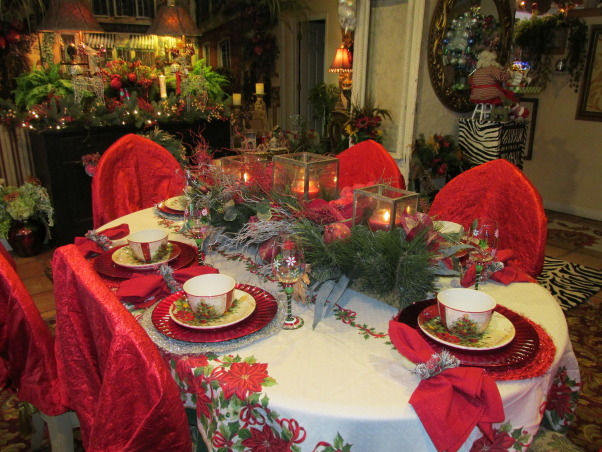 Christmas Video,  I wanted to share My Christmas home I decorated & thought HGTV was a great place to startI I was trying to post my Video but Im having trouble getting it to upload so I have to work on the video & Post later anyway here are some photos of my Home for christmas I decirated!, My dinig room Table ,ready for the Big christmas meal!, Living Rooms Design
