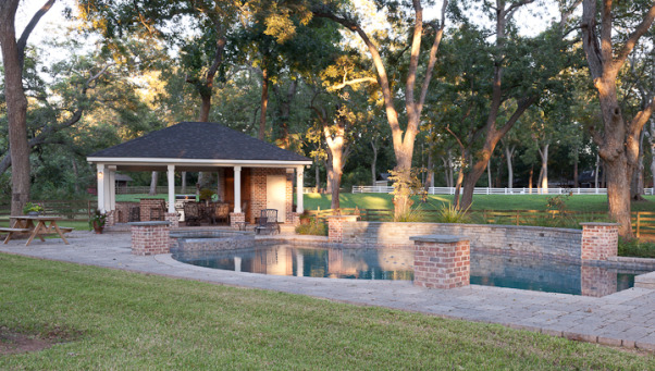 Southern Charm Outdoor Living, our outdoor extension of the house - we do a lot of grilling, swimming, and enjoying life here with family and friends, built to mimic architecture and style of house which is an acadian cottage syle, Pools Design