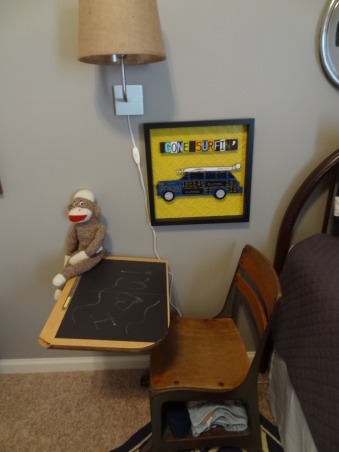 "Thrifty Eclectic Vintage Boy's room, My 3 1/2 year old was very excited to move in to his ""big boy"" room.  I re-used some items from his nursery to save money.  I scored by finding his iron bed, school desk, wagon, and dresser at local thrift stores. The dresser was 70's brown with brass hardware so I repainted it for an updated look.  Pinterest was a great source of inspiration! Introducing to you: Jackson's thrifty eclectic vintage big boy room!, I bought the desk for $5 at a thrift store and put a vinyl chalk board on the top so I can write notes to my son.  He loves to sit at the desk and draw!   , Boys' Rooms Design"