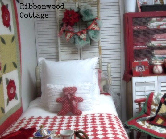 Christmas Bedrooms, We live in a farmhouse, and decorated the bedrooms for the Christmas season. Two guest bedrooms and our Master Bedroom are ready for the Holidays!, Guest room, red and white quilt with white pillows, blankets and sham.  Red teddy bear decorates the bed for Christmas.  A wreath above that spells Joy., Bedrooms Design