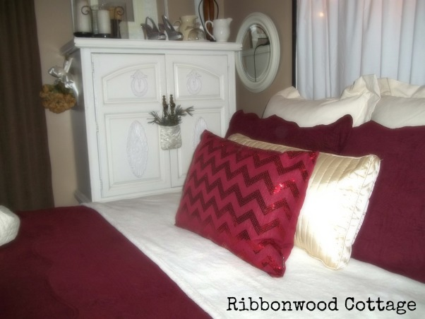 Christmas Bedrooms, We live in a farmhouse, and decorated the bedrooms for the Christmas season. Two guest bedrooms and our Master Bedroom are ready for the Holidays!, Sequined pillow from Marshall's is the accent to this bed decorated for Christmas.  , Bedrooms Design