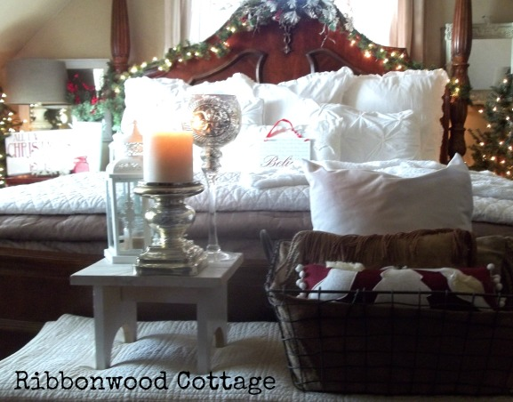 Christmas Bedrooms, We live in a farmhouse, and decorated the bedrooms for the Christmas season. Two guest bedrooms and our Master Bedroom are ready for the Holidays!, Master Bedroom, four poster bed covered with pillows, blankets, and  a white fur throw., Bedrooms Design