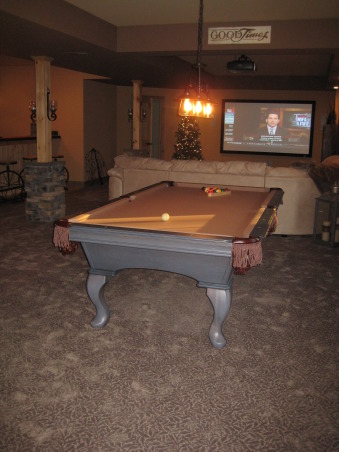 Warm and Cozy in a big space, We just recently finished our basement.  It was a very big and long space.  We wanted to create a warm, cabin like feeling and a space our soon to be teenage daughter could go to hang with friends., Pool table, Basements Design