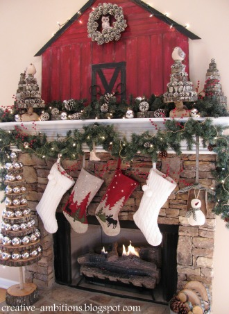Christmas Mantel 2012, Christmas Barn Mantel with Sliced Wood Trees., Christmas Barn Mantel 2012  , Holidays Design