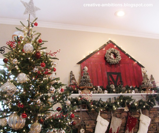 Christmas Mantel 2012, Christmas Barn Mantel with Sliced Wood Trees., Holidays Design