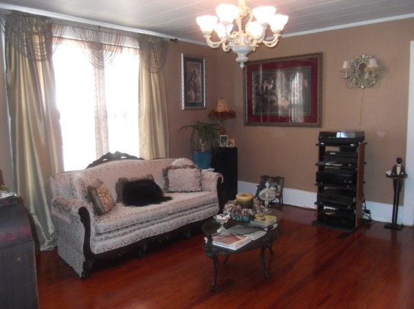Vintage Style LivingRoom, We pulled up the carpet and refinished the floor; painted the walls, re-arrange furniture to give my living room a new look, The sofa was roadside find - and reupholstered, Living Rooms Design