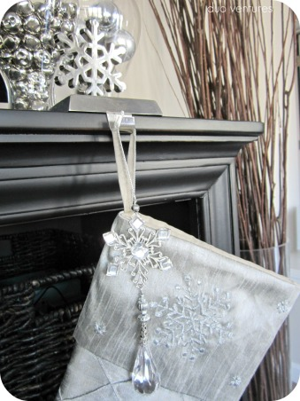 Neutral & Modern Holiday Decor, We like to keep our holiday decor color schemes & themes neutral.  We are relatively new homeowners, so we don't have a ton of decorations yet, but each year we add to our collection...hope you like it!  :), Snowflake stocking holder, stocking, & ornament  duoventures.blogspot.com     , Holidays Design