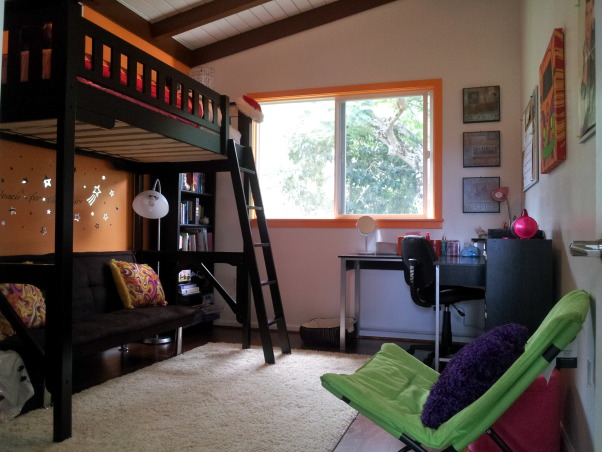 Orange Traditional/Modern Pre-Teen Bedroom , Orange Traditional/Modern Pre-Teen girls bedroom. Expresso loft bed. Chocolate brown fold down futon couch/bed. Cream shag area rug. Light green butterfly chair. Modern L-shaped desk., Girls' Rooms Design