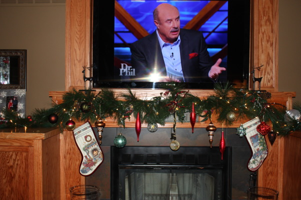 Home for the Holidays, My favorite Christmas decorations yet.  Bling, Sparkle and Happiness, Fireplace wall center - while watching Dr. Phil!, Holidays Design