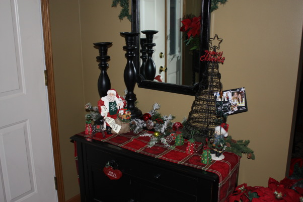 Home for the Holidays, My favorite Christmas decorations yet.  Bling, Sparkle and Happiness, Entry way table, , Holidays Design