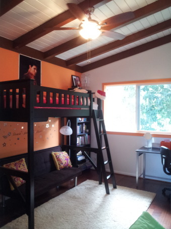 Orange Traditional/Modern Pre-Teen Bedroom , Modern nickle finish with dark wood blades from HomeDepot, Girls' Rooms Design
