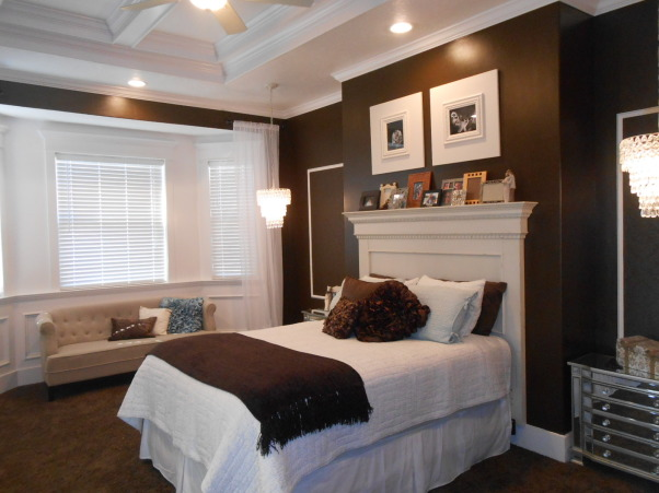 Chocolate Master Bedroom with tray coffered ceiling, chandeliers and painted wallpaper decorative boxes, Bay area in master bedroom with beautiful trim, coffered tray ceiling, chandeliers and beautiful painted wallpaper decorative boxes. , Bedrooms Design
