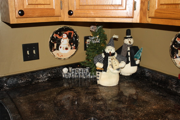Home for the Holidays, My favorite Christmas decorations yet.  Bling, Sparkle and Happiness, Kitchen snowmen, Holidays Design