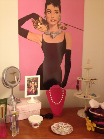 Pink and Tiffany Blue Apartment, Entering my junior year of college, I moved into an apartment where I would have my own bedroom. The furniture was really ugly and the walls were a blank white canvas and this was the end result!, Audrey Hepburn poster, jewelry holder from PBTeen, Bedrooms Design