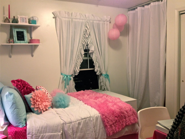 Pink and Tiffany Blue Apartment, Entering my junior year of college, I moved into an apartment where I would have my own bedroom. The furniture was really ugly and the walls were a blank white canvas and this was the end result!, Curtains were from my grandmother, pink laterns from dollar store, curtain to hide dresser was made out of plain white linen, Bedrooms Design