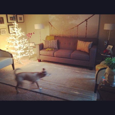 Mid-Century Modern Living Room with Christmas Tree, I needed a creative way to add a Christmas tree to my home which has a few mid-century modern inspired pieces. So, I brought the outdoos in. , Living Rooms Design
