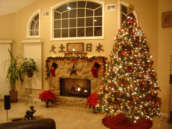 Great Room Christmas, Although the fireplace is the focal point of the room throughout most of the year, it must share the attention with a 12 foot Christmas tree during the Yuletide Season., Holidays Design