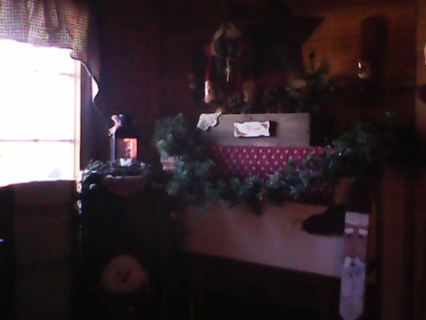 Country Christmas 2012, Here are a few  photos of our Christmas decorations. , This little spot is on my fireplace. The fireplace was made by my hubby. The long santa in the bottom right corner I made  a few years ago.  , Living Rooms   Design