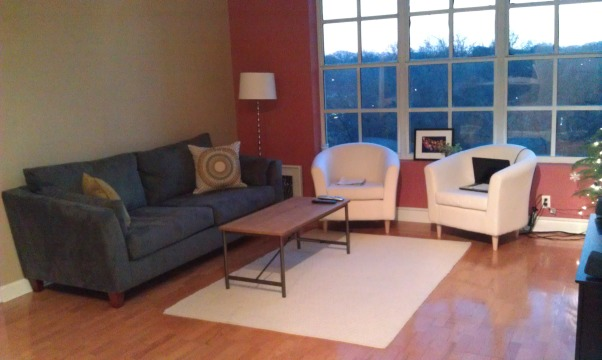 Living Room without personality! Need your help., I recently moved to a new state and completely refurnishing my new apt. The living room is in need of some life. I love the items I have so far (aside from the too-small rug), but need specific ideas for decor. Fire away with your suggestions! Please let me know what you like/don't like, sites you go to for ideas, etc. Thanks for your feedback!, I know the rug is a bit too small, but living with it for now...  , Living Rooms Design