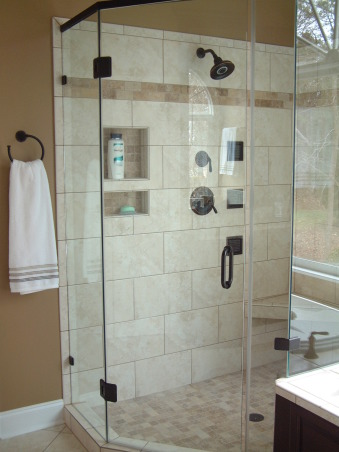 """Get rid of the brass"" remodel done on the cheap - Master Bath, Fairly large master bath from 1992 redone to get rid of that 1990s brassy look and feel.  Shower with jets. , Added handheld shower, Kohler body jets, frameless shower , Bathrooms Design"