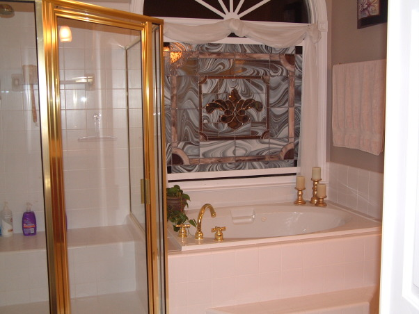 """Get rid of the brass"" remodel done on the cheap - Master Bath, Fairly large master bath from 1992 redone to get rid of that 1990s brassy look and feel.  Shower with jets. , Original bath - lots of brass , Bathrooms Design"
