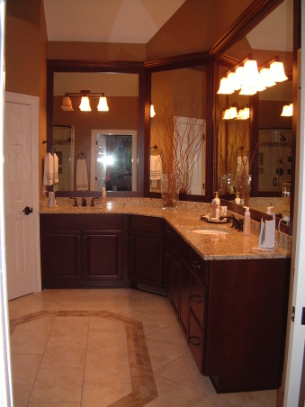 """Get rid of the brass"" remodel done on the cheap - Master Bath, Fairly large master bath from 1992 redone to get rid of that 1990s brassy look and feel.  Shower with jets. , Remodel - granite counters, recessed sinks, put picture frame molding over the original mirrors , Bathrooms Design"