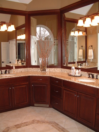 """""""Get rid of the brass"""" remodel done on the cheap - Master Bath, Fairly large master bath from 1992 redone to get rid of that 1990s brassy look and feel.  Shower with jets. , Added more cabinets in the corner , Bathrooms Design"""