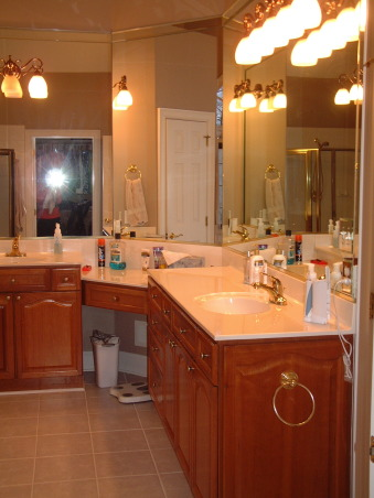 """Get rid of the brass"" remodel done on the cheap - Master Bath, Fairly large master bath from 1992 redone to get rid of that 1990s brassy look and feel.  Shower with jets. , Cheapo cultured marble counters , Bathrooms Design"