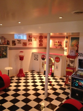 Retro 50's Diner/Bar, This was an unused basement space. I transformed it to a useable family room with a 50's look., This is a view of the same basement area after completion. , Basements Design