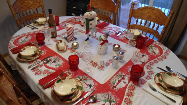 Christmas luncheon , Vintage Christmas tablecloth and apple dishes of my grandmothers. Preparing for Christmas lunch with family. , Holidays Design
