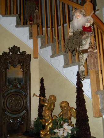 Christmas is Home for the Holidays!, Our Home decorated for Christmas!  It is a lot of work, but love it, love decorating, and truely love to stand back and take a deep breath, and enjoy every piece of Christmas.  It is my favorite time of the year!, The Foyer is decorated with gold Cherubs.   , Holidays Design