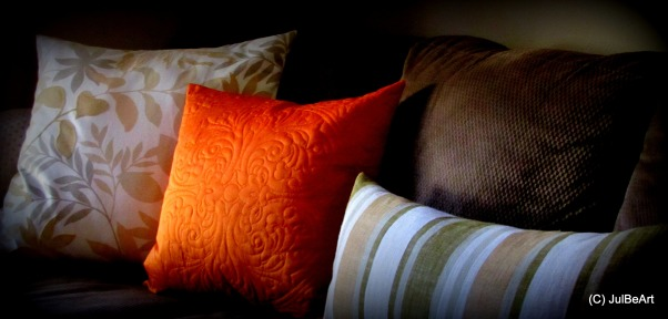 Autumn Breeze, Paying homage to my favorite season, Fall!, Grouping of pillows on sectional was the inspiration for the Fall theme holiday decor.      , Holidays Design