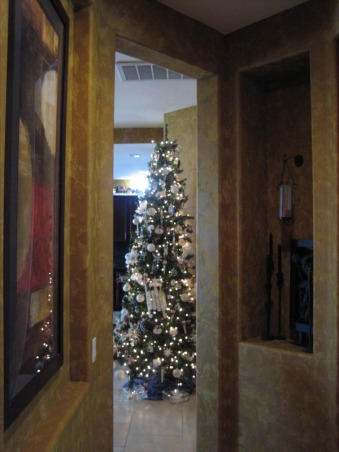 Christmas Decorations 2012, Different Rooms in my home, Snowman Tree - View down the hallway, Holidays Design