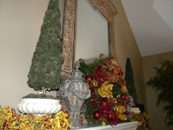 Christmas is Home for the Holidays!, Our Home decorated for Christmas!  It is a lot of work, but love it, love decorating, and truely love to stand back and take a deep breath, and enjoy every piece of Christmas.  It is my favorite time of the year!, The Fireplace Mantle decorated with urns, topiary, and a wreath.  , Holidays Design