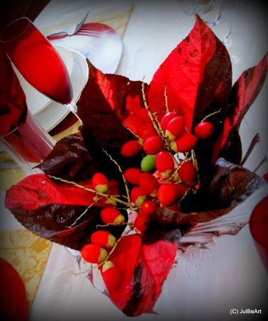 Christmas in red @ Mum's, Staying in the traditional color palette of the season, we celebrate with Red! Merry Christmas everyone!, For the center piece, I used red crotons with red Christmas berries from the dwarf palm tree in a crystal bowl.     , Holidays Design