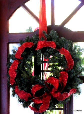 Christmas in red @ Mum's, Staying in the traditional color palette of the season, we celebrate with Red! Merry Christmas everyone!, close up of wreaths on the mahogany entry doors.       , Holidays Design